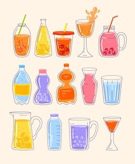 Sommersaft und limonadenwasser mit frischer beeren- und obstflasche isoliertes set