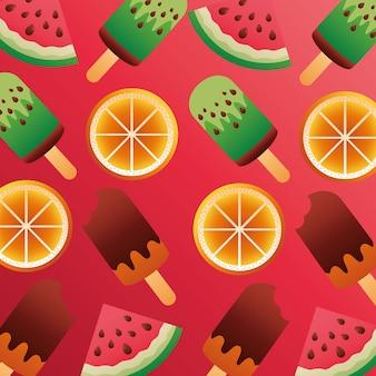 Sommersaison mit eiscreme und fruchtvektorillustrationsdesign