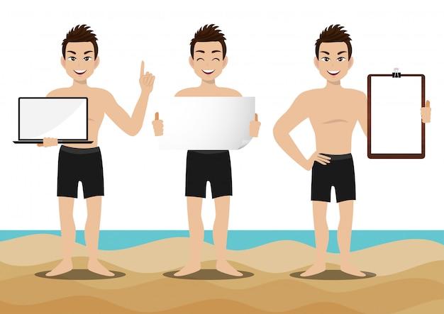 Sommersaisonurlaub. zeichentrickfigur am strand; gut aussehender mann mit schwimmenhose und tätigkeiten entwerfen vektor