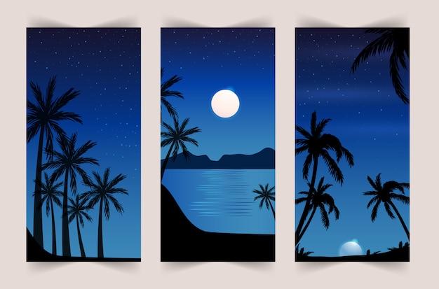 Sommersatz des mobilen hintergrunds. bunter sonnenuntergang auf dem meer mit palmen und möwen. geschichten vorlage.