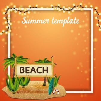 Sommerschablone für ihre künste mit girlande und platz für text