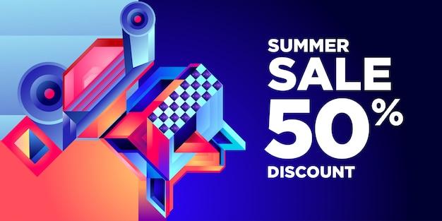 Sommerschlussverkauf 50% rabatt bunte abstrakte geometrische fahne