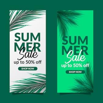 Sommerschlussverkauf angebot banner palmblätter