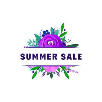 Sommerschlussverkauf banner mit blumen und pflanzen geschmückt.