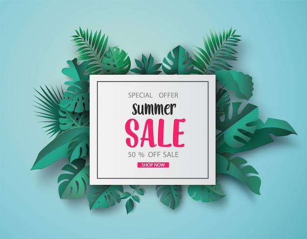 Sommerschlussverkauf banner papierschnitt