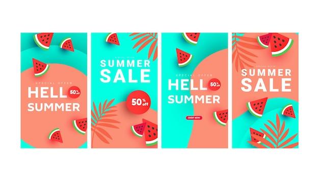 Sommerschlussverkauf-bannergeschichten-kunstvorlagen mit blumenbaum, wassermelonenscheiben