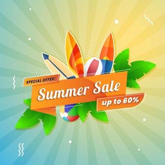 Sommerschlussverkauf-bannerschablone mit sommerelement frei vector
