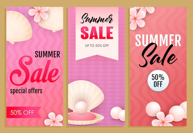 Sommerschlussverkauf-beschriftungen eingestellt, muscheln, perlen und blumen