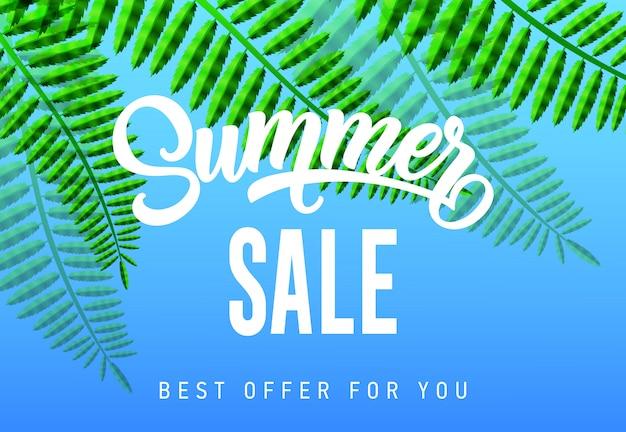 Sommerschlussverkauf, bestes angebot für sie saisonfahne mit tropischen blättern auf himmelblauhintergrund