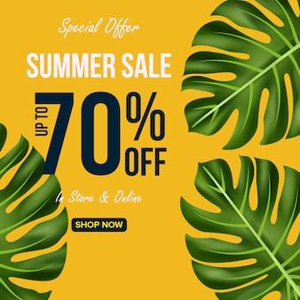 Sommerschlussverkauf bietet fahnen-design mit blatthintergrund an