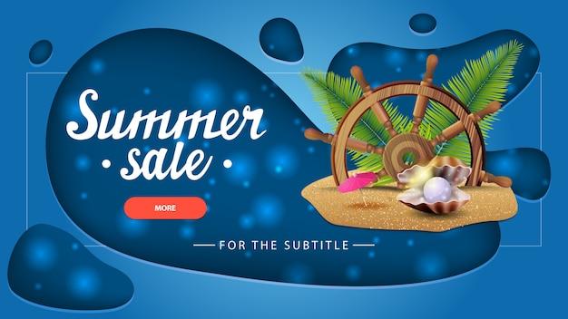 Sommerschlussverkauf, blaue rabattfahne mit modernem design für ihre website
