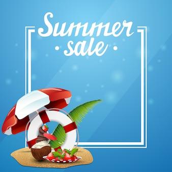 Sommerschlussverkauf, blaue vorlage für ihre künste mit rahmen und platz für text