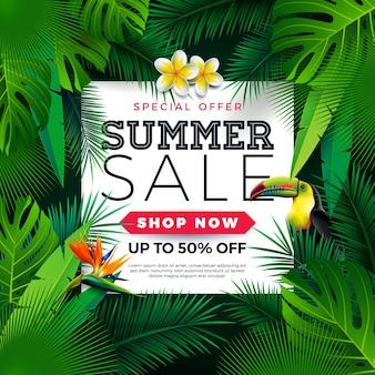 Sommerschlussverkauf-design mit tukan-vogel-und papageien-blume auf grünem hintergrund