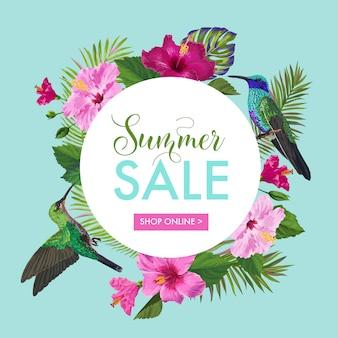 Sommerschlussverkauf-fahne mit tropischen blumen und vögeln