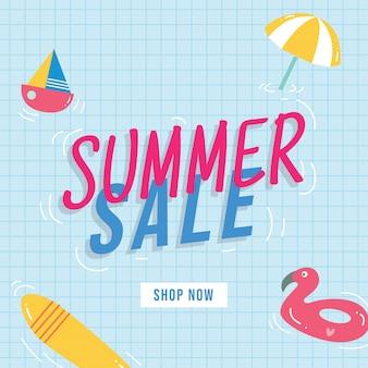 Sommerschlussverkauf-fahnendesign mit gekritzelelementen