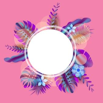Sommerschlussverkauf-fahnenschablone mit palmblättern, dschungelblatt, steigung holographisch