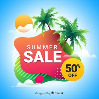 Sommerschlussverkauf flüssige form banner