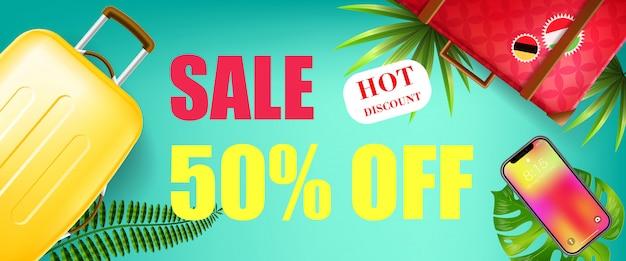 Sommerschlussverkauf, fünfzig prozent weg, heiße rabattfahne mit tropischen blättern, smartphone