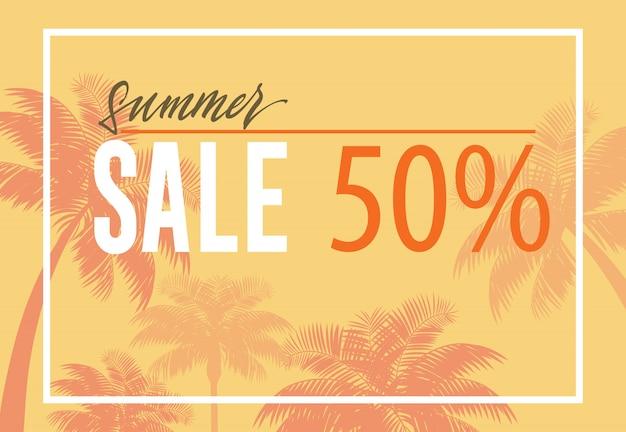 Sommerschlussverkauf, fünfzigprozentige fahne mit palmeschattenbildern auf gelbem hintergrund.