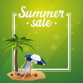 Sommerschlussverkauf, grüne vorlage für ihre künste mit rahmen und platz für text