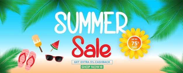 Sommerschlussverkauf-hintergrund mit draufsicht der tropischen blätter