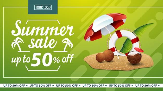 Sommerschlussverkauf, horizontale netzfahne des rabattes für online-shop