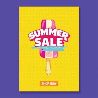 Sommerschlussverkauf-illustration mit eis am stiel, strand und tropischem blatt-hintergrund