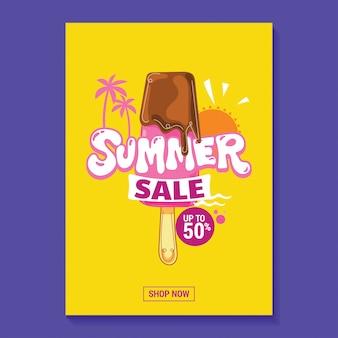 Sommerschlussverkauf-illustrations-plakat mit eis am stiel, strand und tropischem blatt-hintergrund