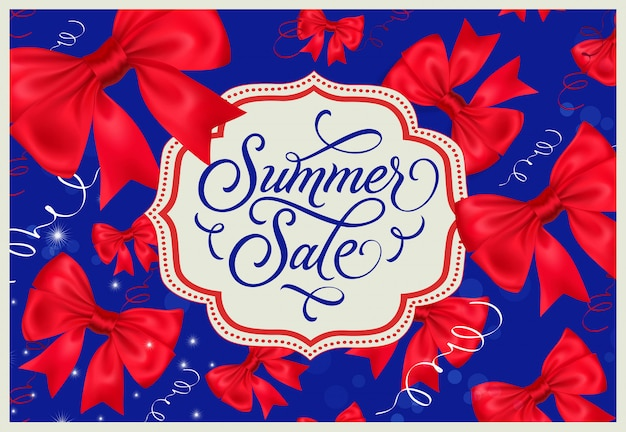 Sommerschlussverkauf label auf blauem hintergrund
