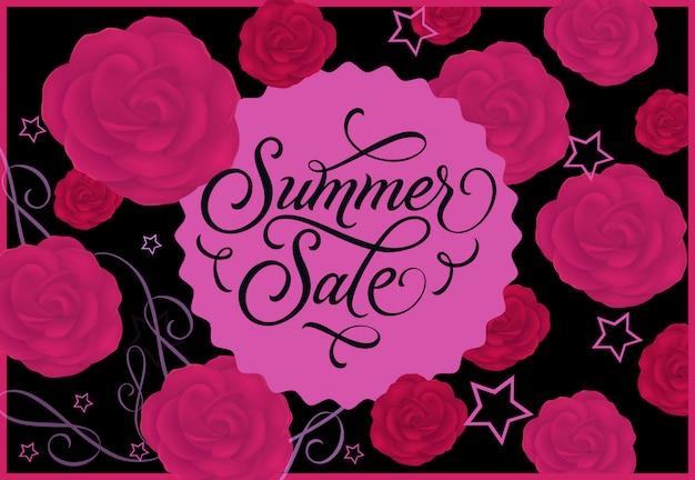 Sommerschlussverkauf label mit rosen auf hintergrund