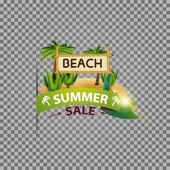 Sommerschlussverkauf, lokalisierte netzfahne mit band, kokosnusspalmen und bambuszeichen