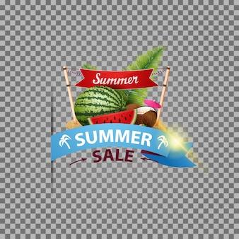 Sommerschlussverkauf, lokalisierte netzfahne mit band und wassermelone
