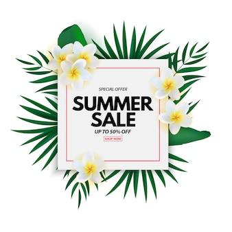 Sommerschlussverkauf mit exotischen plumeria-blüten von tropical palm leaves