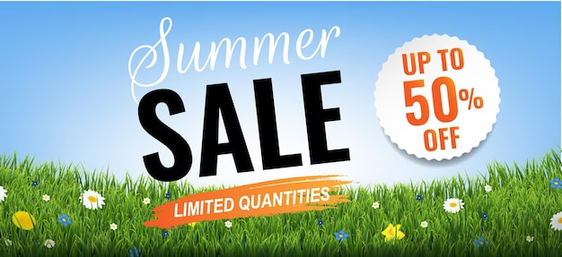 Sommerschlussverkauf mit grasrand mit farbverlaufsgitter