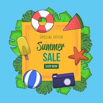 Sommerschlussverkauf mit seestern und wasserball