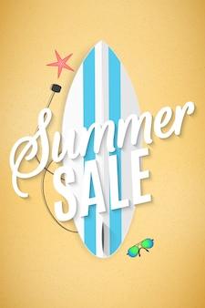 Sommerschlussverkauf mit surfbrett