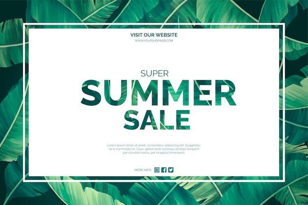 Sommerschlussverkauf mit tropischen blättern