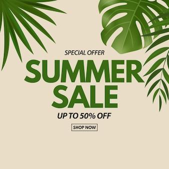 Sommerschlussverkauf mit tropischer palme und monstera leaves exotische blume