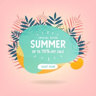 Sommerschlussverkauf mit tropischer strandheller farbplan-fahnenschablone