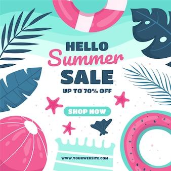 Sommerschlussverkauf mit wasserball und blättern