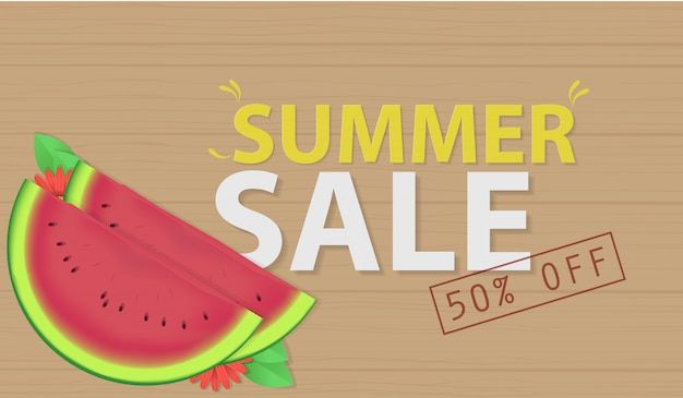 Sommerschlussverkauf mit wassermelonenvektor