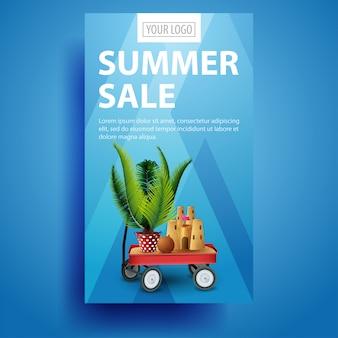Sommerschlussverkauf, moderne, stilvolle vertikale fahnenschablone