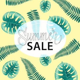 Sommerschlussverkauf, promoplakat mit tropischen blättern auf gelbem hintergrund.