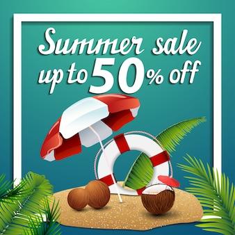 Sommerschlussverkauf, quadratische netzfahne des rabattes mit flipflops, perle und palmblättern