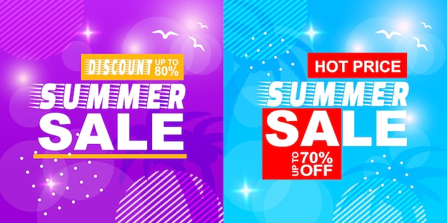 Sommerschlussverkauf rabatt hot price off banner set