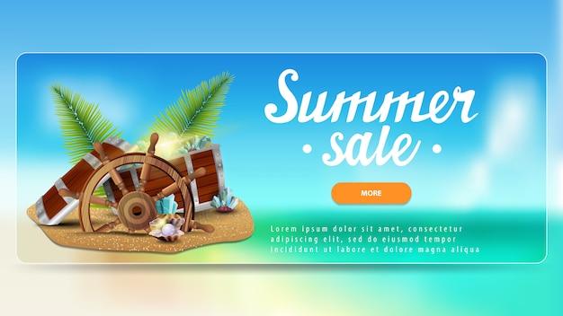 Sommerschlussverkauf, rabattbanner für ihre website mit wunderschönem meerblick