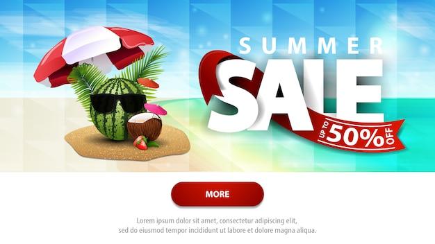 Sommerschlussverkauf, rabattnetz-fahnenschablone für ihre website mit schönem meerblick