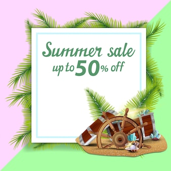 Sommerschlussverkauf, schablone für rabattfahne in form eines blattes papier verzierte palmblätter