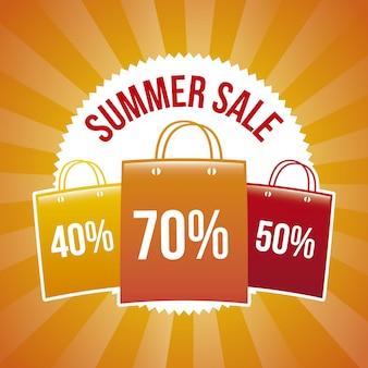 Sommerschlussverkauf über orange hintergrundvektorillustration