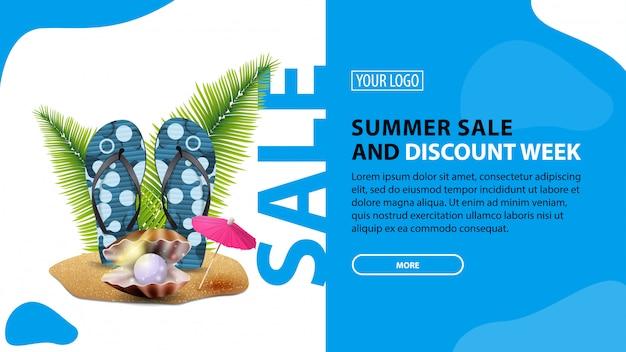Sommerschlussverkauf und rabattwoche, horizontales rabatt-banner für ihre website